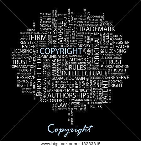 COPYRIGHT. Word collage on black background. Illustration with different association terms.