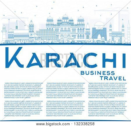 Outline Karachi Skyline with Blue Landmarks and Copy Space. Business Travel and Tourism Concept with Historic Buildings. Image for Presentation Banner Placard and Web Site.
