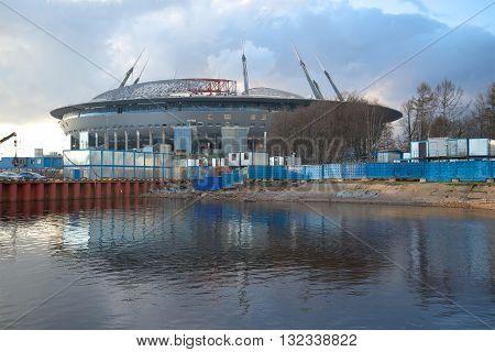 SAINT-PETERSBURG, RUSSIA - APRIL 23, 2016: View of a new stadium