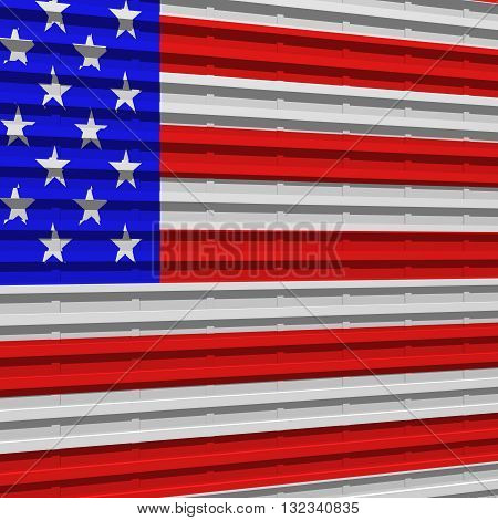 3D rendering of corrugated steel with US flag painted on it.
