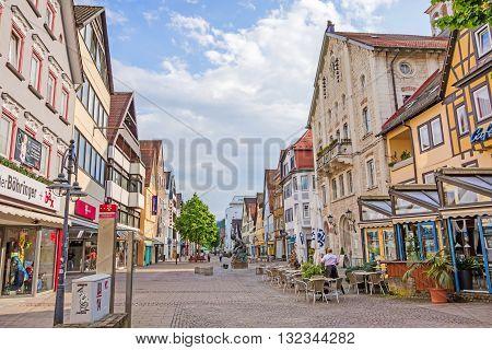 Heidenheim an der Brenz Germany - May 26 2016: Pedestrian area of Heidenheim with stores and gastronomy.