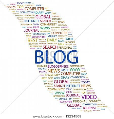 BLOG. Word collage on white background. Vector illustration.