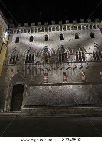 SIENA ITALY - CIRCA DECEMBER 2014: headquarters of the Monte dei Paschi di Siena bank