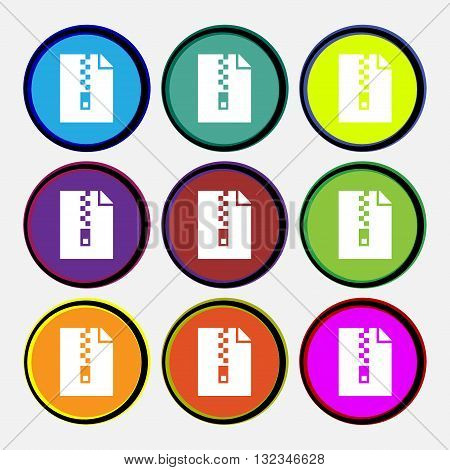 Computer Zip Folder, Archive Icon Sign. Nine Multi Colored Round Buttons. Vector