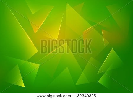 Green Explosion Illustration. Vector Abstract Background. Broken Glass Texture. Abstract 3d Bg for Night Party Posters Banners or Advertisements.
