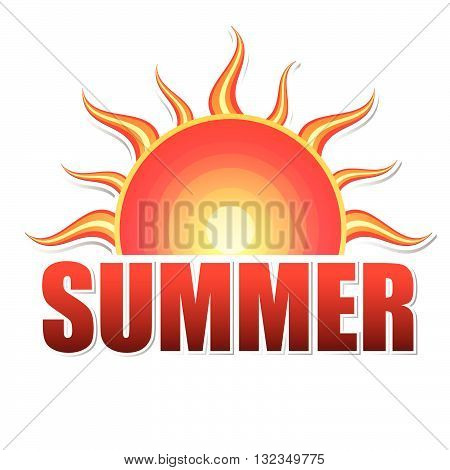 label with text summer and drawn sun in yellow red gradient, isolated, vector