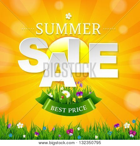 Summer Sale Banner With Sun, With Gradient Mesh, Vector Illustration