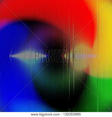 Vector Abstract Background for Night Party Posters, Musician Banners or Covers. Colorful Circle Glitch Pattern.