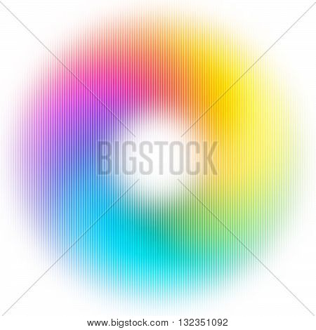 Abstract Blurred Rainbow Ring Isolated on White Background. Vector Colorful Circle. Bright Donut Illustration. Modern Decorative Bg for Flyers Layout, Banners, Night Party or Musical Poster.