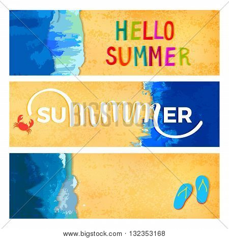 Horizontal Web Banners Overhead View of the Beach. Ocean Waves Background. Beach Sand Texture. Vector Summer Illustration.
