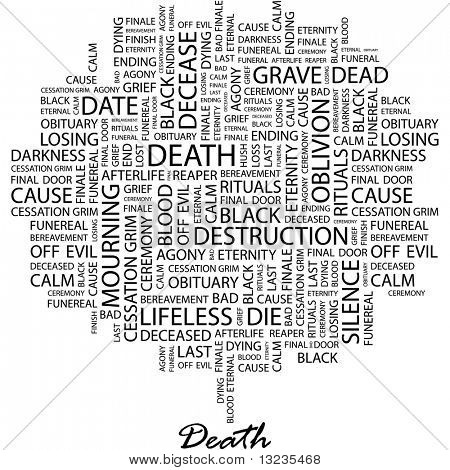 DEATH. Word collage on white background. Illustration with different association terms.