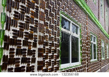The wat khuat temple an Astounding Temple made of bottles.Chana Songkhla Thailand.
