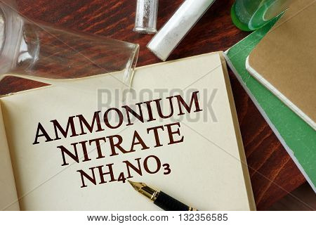 Word ammonium nitrate written on a page. Chemistry concept.