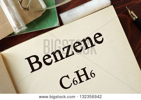 Benzene written on a page. Chemistry concept.