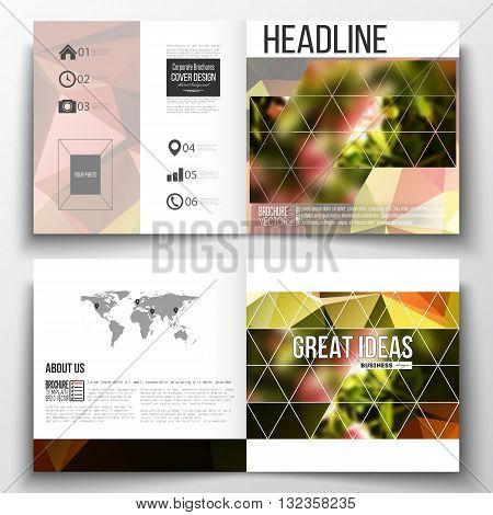Vector set of square design brochure template. Colorful polygonal floral background, blurred image, pink flowers on green, modern triangular texture.