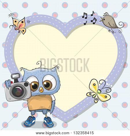 Cute cartoon Owl with a camera and a heart frame