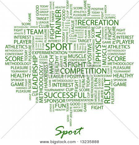 SPORT. Word collage on white background. Illustration with different association terms.