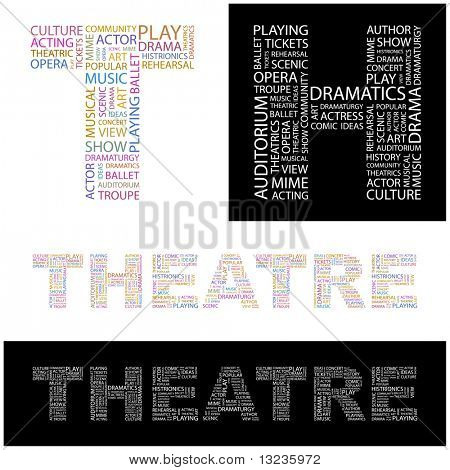 THEATRE. Word collage. Illustration with different association terms. poster