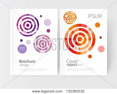modern abstract geometric background. red,yellow & purple concentric circles. White Cover design template business brochure, booklet, leaflet, magazine. template advertisement. vector 10 EPS
