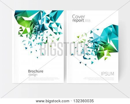 scatter triangles / vector white business brochure cover template.modern abstract geometric background green and blue triangles.