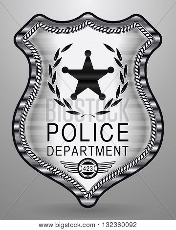 Realistic Police Badge. Vector Isolated Illustration