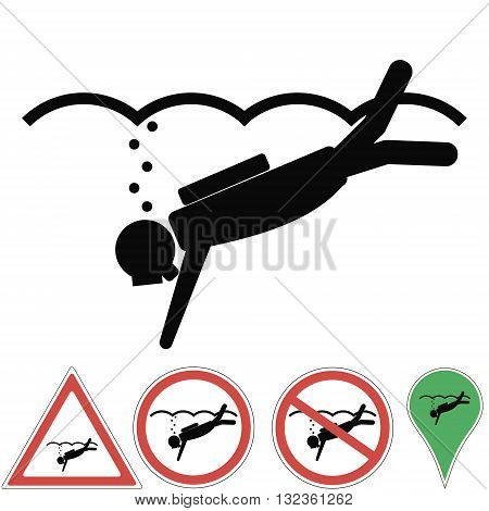 Diving scuba diving illustration of signs are prohibited danger attention a place for diving vector for print or design