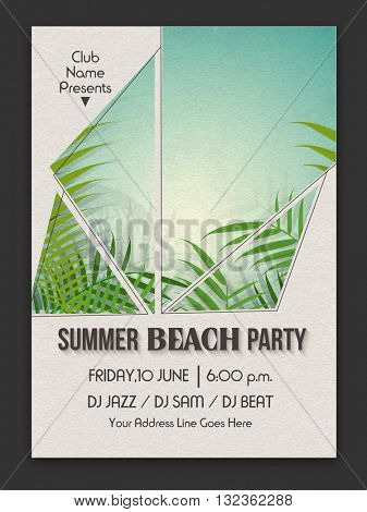 Summer Beach Party Template, Beach Party Banner, Musical Party Flyer or Invitation Card design with illustration of fresh green leaves.