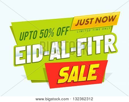 Eid-Al-Fitr Mubarak Sale, Sale Paper Tag, Paper Banner, Sale Background, Upto 50% Off, Sale vector illustration for Muslim Community Festival celebration.