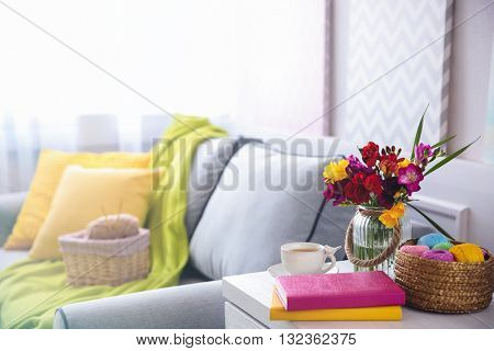 Home design interior with beautiful freesia flowers