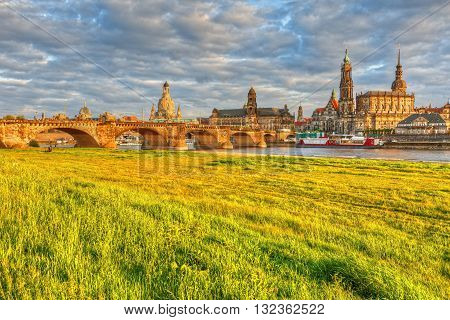 View of the old town of Dresden over river Elbe, Germany. HDR image. poster