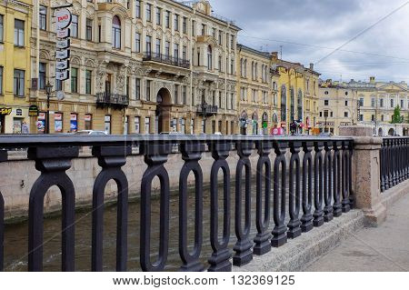 The city of St. Petersburg, Russia, may 17, 2016: Naberezhnaya kanala Griboedova. A Sunny day North of the capital. Dramatic sky of Leningrad.