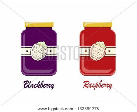 The jam with fresh ripe raspberries and blackberries in a glass jar with lid and label, two glass jars with raspberry and blackberry jam, illustration.