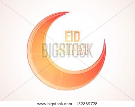 Beautiful Glossy Crescent Moon on shiny background for Muslim Community Festival, Eid Mubarak celebration.