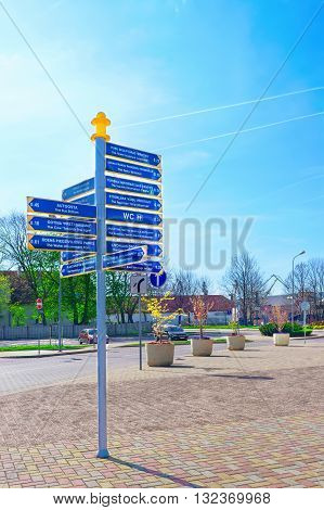 Direction Signs Near Ferry Terminal In Ventspils