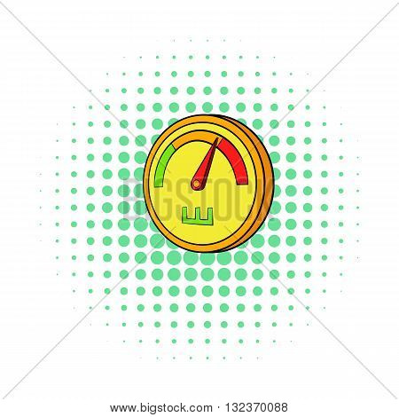 Speedometer or general indicator icon in comics style isolated on white background