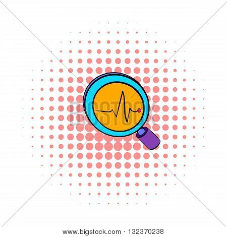 Business Analysis symbol with magnifying glass and chart icon in comics style isolated on white background