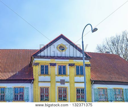 Facade Of A Building In Ventspils Of Latvia