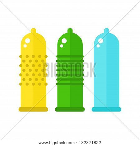 Condoms isolated icons on white background. Colorful condoms. Sex toys. Flat style vector illustration.