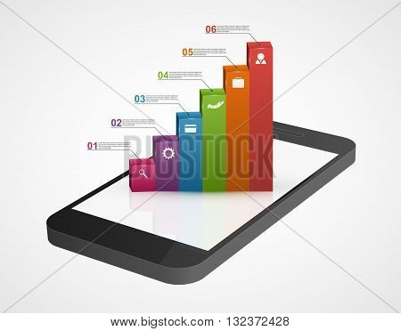 Business infographic on the screen mobile phone. Vector illustration. 3d