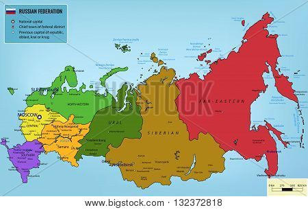 Russian Federation map with selectable territories. Vector illustration