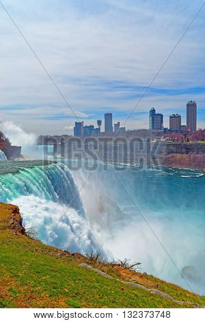 Niagara Falls And Skyscrapers In Canada