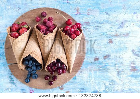 Fresh Berry Fruits In The Cone