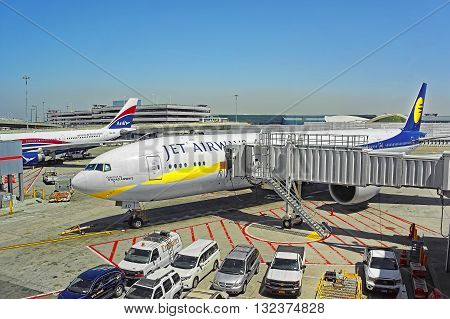 Airplane And Jet Bridge At Jfk International Airport