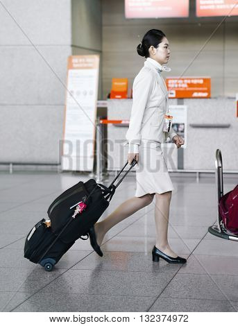 Asian Air Flight Hostess In Incheon International Airport