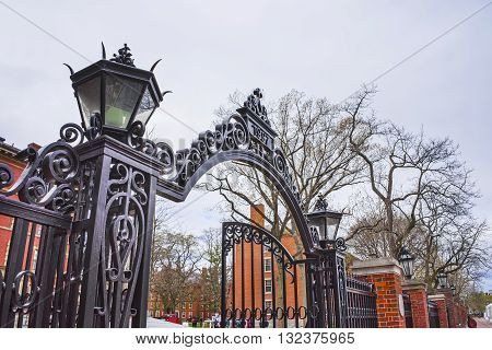 Entrance Gate And Dormitories In Harvard Yard Of Harvard University