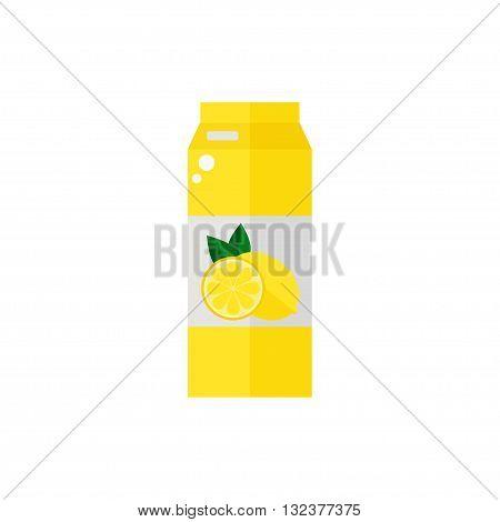 Pack of juice. Lemon pack of juice icon isolated on white background. Fresh lemon juice. Flat style vector illustration.