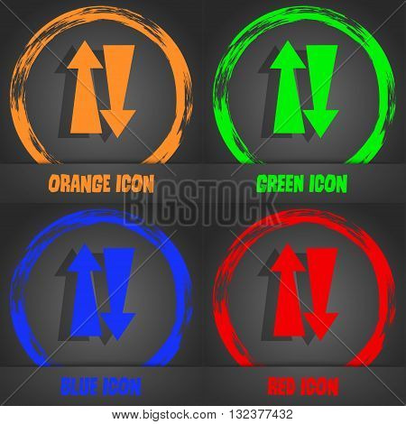 Two Way Traffic, Icon. Fashionable Modern Style. In The Orange, Green, Blue, Red Design. Vector