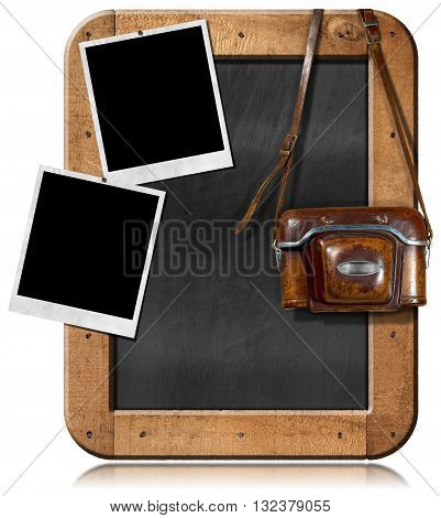 Old and vintage camera with leather case two empty instant photo frames and a blank blackboard with wooden frame. Isolated on white
