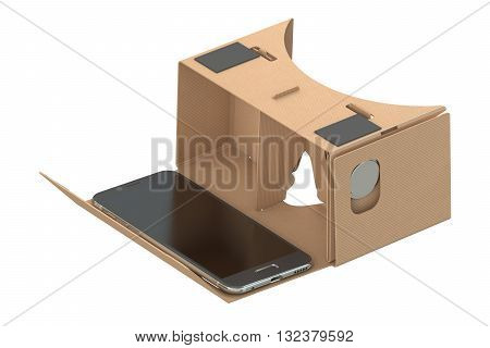 Cardboard virtual reality glasses 3D rendering  isolated on white background