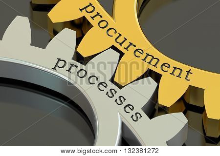 Procurement Processes concept on the gearwheels 3D rendering